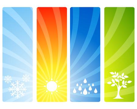 estaciones del año: Ilustración vectorial de un sazona cuatro banderas