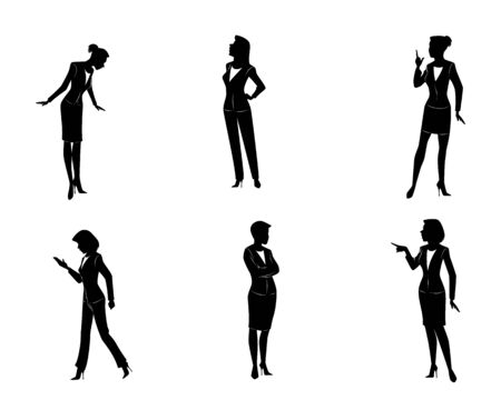 six point: Vector illustration of a six businesswomen silhouettes Illustration