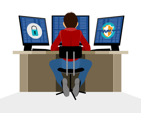 Vector illustration of a information security expert Çizim
