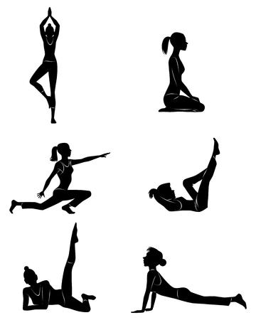 flexible girl: Vector illustration of a girl doing exercises
