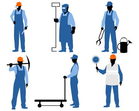 steelmaker: Vector illustration of a six blue silhouettes Illustration