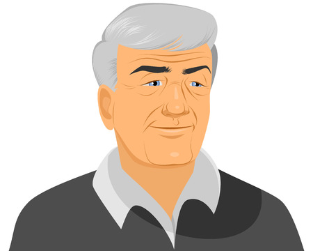 handsome man: Vector illustration of a smiling old man