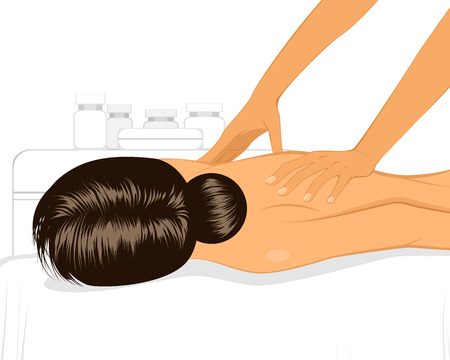 masseur: Vector illustration of a woman doing massage