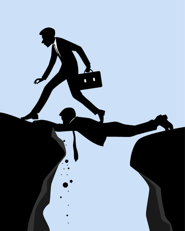precipice: Vector illustration of a mutual assistance in business Illustration