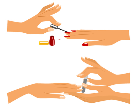 Vector illustration of a girl doing a manicure