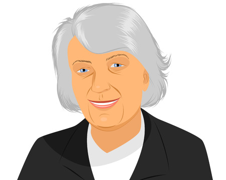 Vector illustration of a smiling old woman