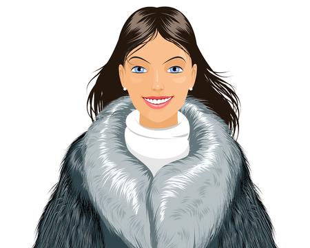 Vector illustration of a attractive girl in fur coat Stock Illustratie