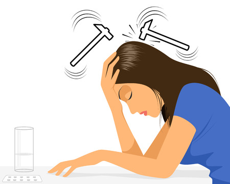 Vector illustration of a girl with headache Иллюстрация