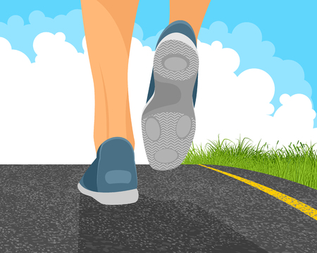 man outdoors: Vector illustration of a man running on the road Illustration