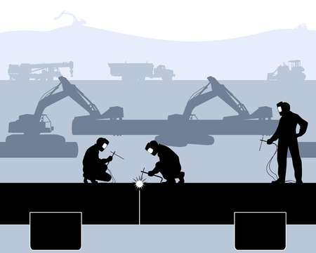 Vector illustration of a welders welded pipe
