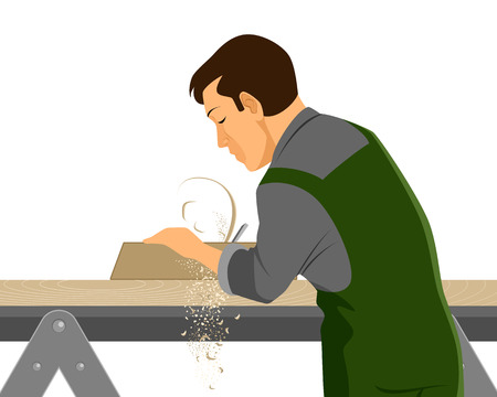 Vector illustration of a carpenter with plane Stock Illustratie