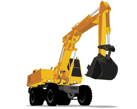 yellow tractors: Vector illustration of a yellow excavator with wheels