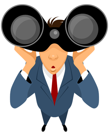 binoculars: Vector illustration of a businessman looking through binoculars