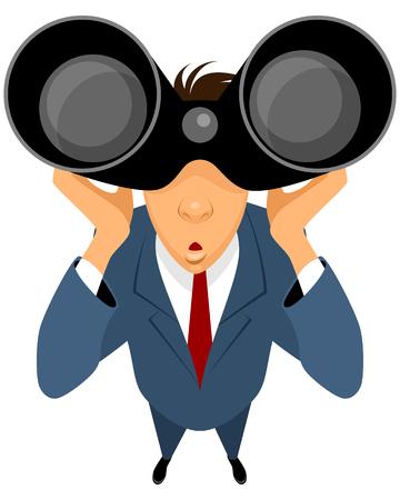 personas mirando: Vector ilustración de un hombre de negocios mirando a través de binoculares