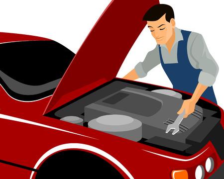 repairs: Vector illustration of a mechanic repairs motor