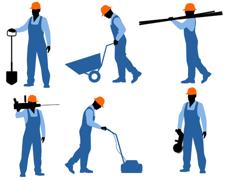 sander: Vector illustration of a six workers silhouettes Illustration