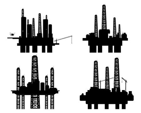 oil platforms: Vector illustration of a four oil platforms Illustration