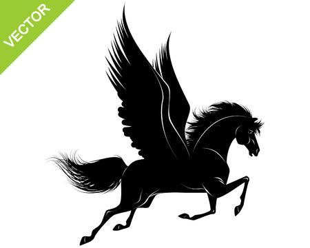 pegaso: Ilustraci�n vectorial de una silueta de color negro de Pegaso