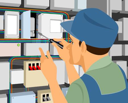 circuitos electricos: Ilustraci�n vectorial de un electricista en el trabajo