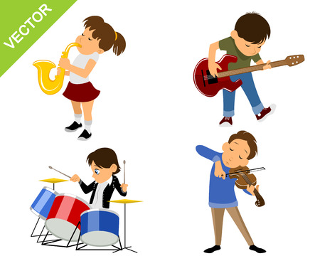 boy playing guitar: Vector illustration of a four young musicians