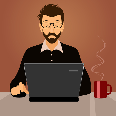 Vector illustration of a man working with laptop