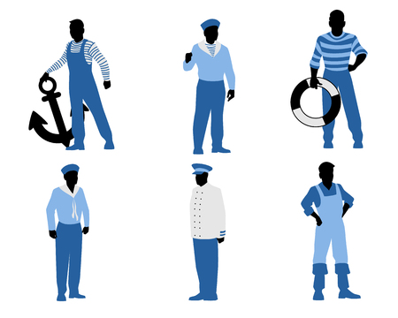 ancre marine: Vector illustration of a six sailors silhouettes Illustration