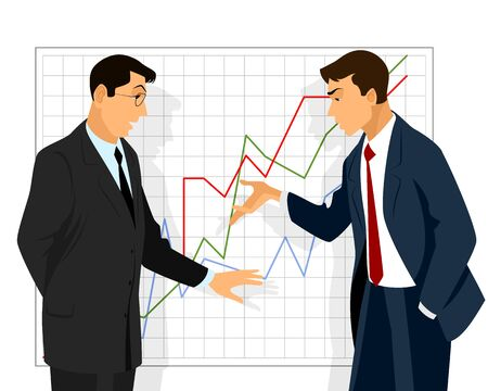 deliberation: Vector illustration of a two businessman dispute