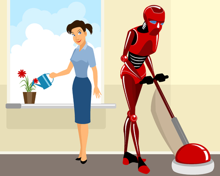 Vector illustration of a robot helps girl