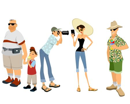 group travel: Vector illustration of a funny tourist set