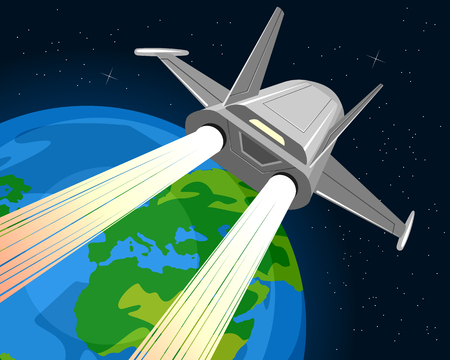 cartoon earth: Vector illustration of a spaceship and planet Illustration