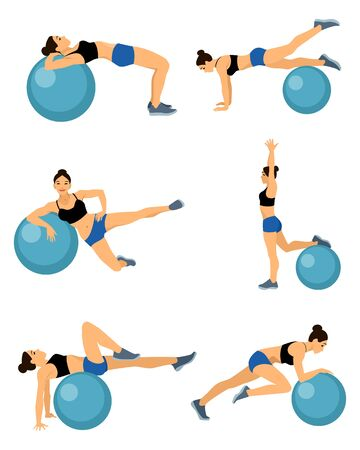 fitball: Vector illustration of a girls with blue fitball