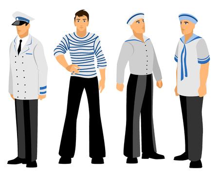 male face: Vector illustration of a four sailors set