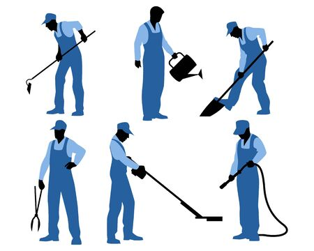 worker person: Vector illustration of a six gardeners silhouettes