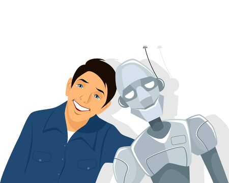 human hands: Vector illustration of a friends - boy and robot