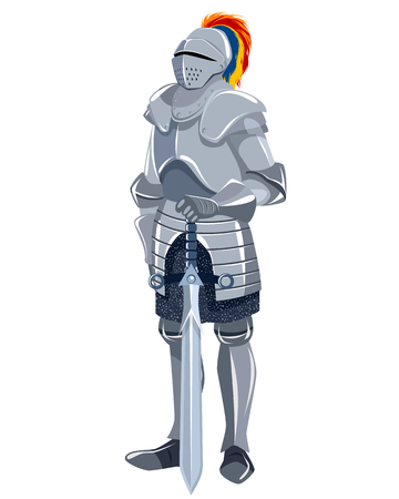 ancient warrior: Vector illustration of a knight with sword