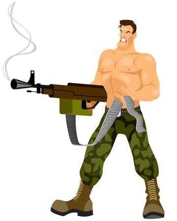 commando: Vector illustration of a commando with machine gun