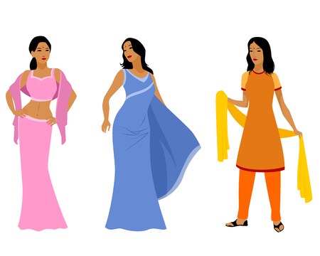 hindus: Vector illustration of a three indian women in dress