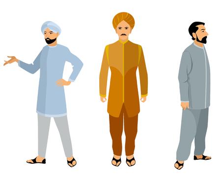 Ilustración de una a tres hombres indios en alineada