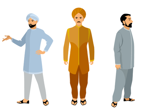 hindus: Vector illustration of a three indian men in dress