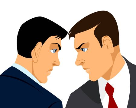 rivalry: Vector illustration of a two businessmen confrontation