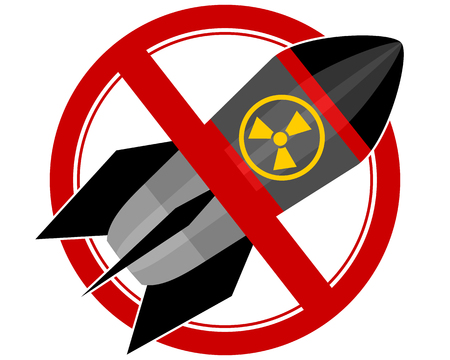 no nuclear: Vector illustration of a nuclear rocket sign