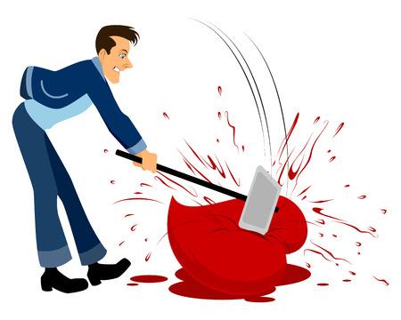 breaks: Vector illustration of a man breaks heart with a hammer Illustration