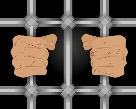 jailhouse: Vector illustration of a prisoner behind bars