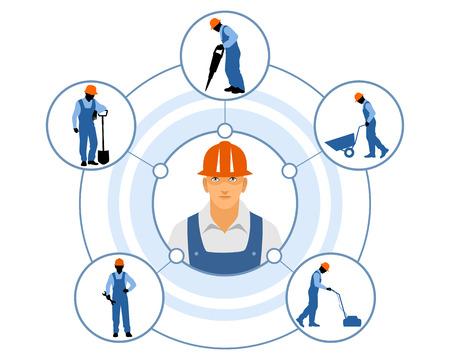 builder: Vector illustration of a different builders duties