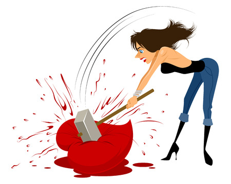 Vector illustration of a woman breaks heart with a hammer