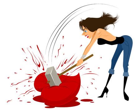 femme triste: Vector illustration d'une femme brise le c?ur avec un marteau