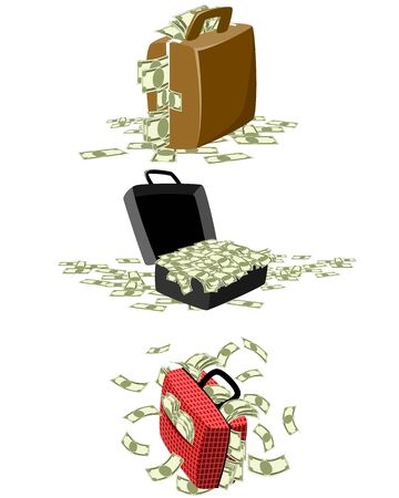 Vector illustration of a three suitcases with money