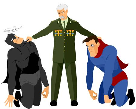 won: Vector illustration of a veteran holds two superheroes