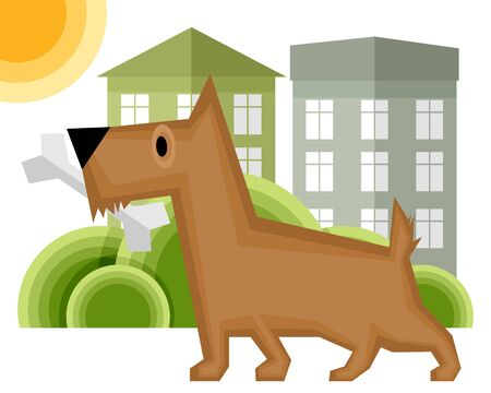 Vector illustration of a dog with bone on the yard Vettoriali