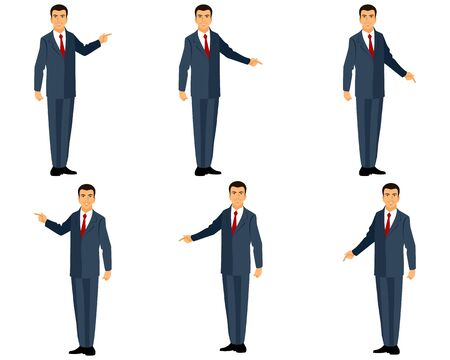finger cartoon: Vector illustration of a businessman in suit points